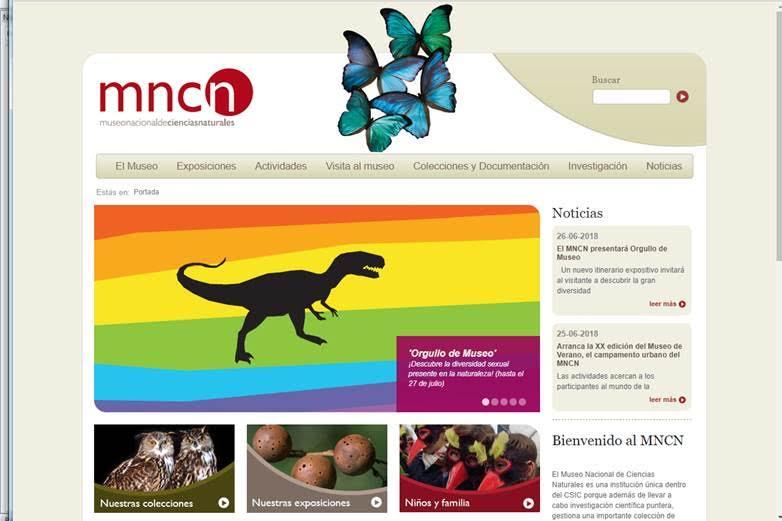 Web del Museo Nacional de Ciencias Naturales